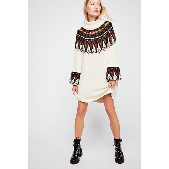 NWT Free People Scotland Sweater Dress S Ivory 3ce60f063